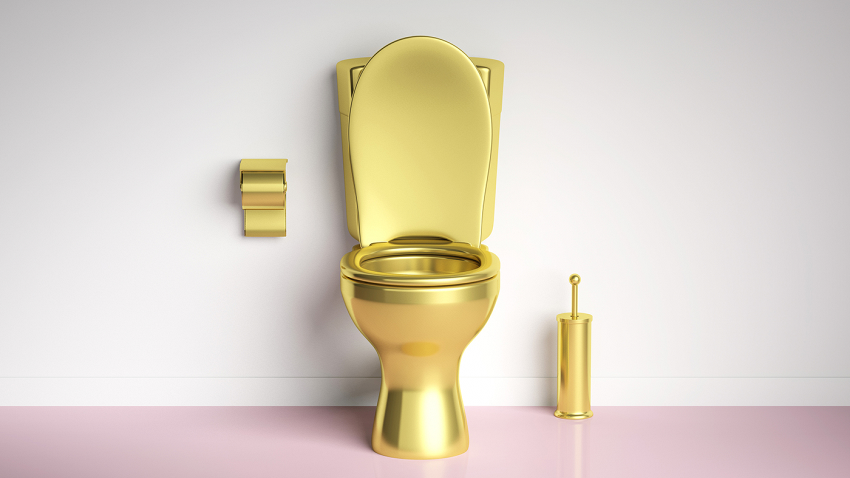 Luxury toilets. Golden toilet bowl and accesories on pink floor, white wall background, copy space. 3d illustration